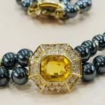 Collier en Hématite et or
