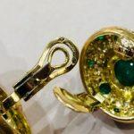 Boucle d'oreilles émeraudes diamants